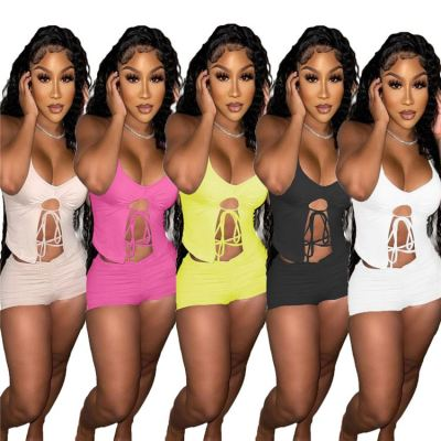 1051401 Best Seller 2021 Summer Fashion Casual Sports Suit Outfits Women Two Piece Short Set