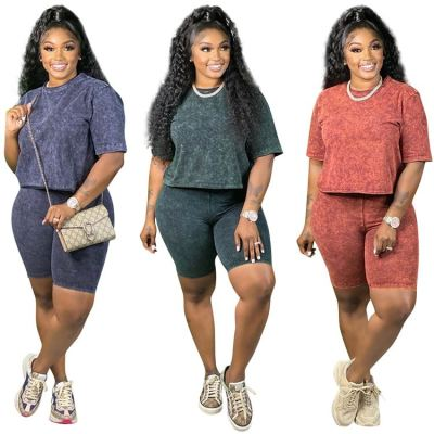 MOEN High Quality  Casual Summer Short Sleeve Round Neck Top and Pants Women Two Piece Short Set