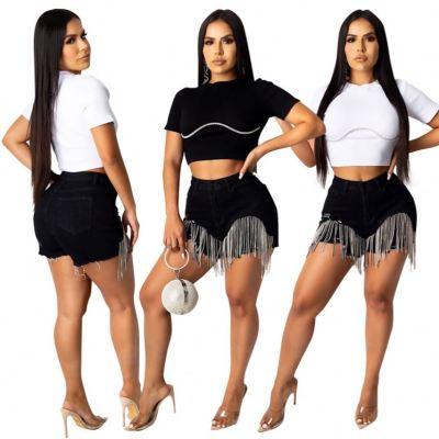 MOEN New Trendy Diamond Tassel Sexy Women Shorts 2021 Woman Jeans
