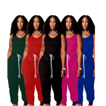 MOEN Good Quality 2021 Solid Color Vest Drawstring Loose Casual One Piece Jumpsuits Women Jumpsuits And Rompers