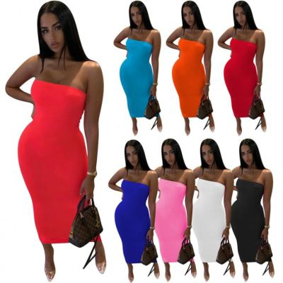 MOEN New Arrival 2021 Fashion Solid Color Strapless Women Casual Bodycon Dress
