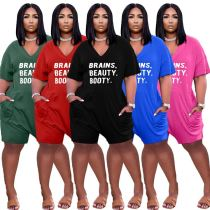MOEN Latest Design Solid Color Letter Printed Loose Wear Bayan giyim Women One Piece Jumpsuits And Rompers Women Jumpsuit