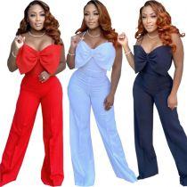 MOEN  Hot Selling 2021 Summer Solid Color Halter Invisible Zipper Slim Loose Women Jumpsuits