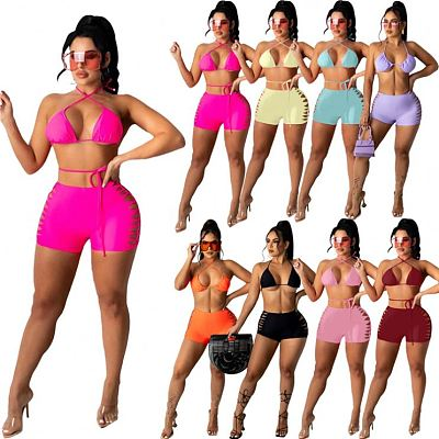 1051704 New Arrival 2021 Fashion Solid Color Halter Swimwear Ladies Swimsuit Sexy Women Bikini Set