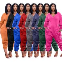 MOEN Latest Design 2021 Sexy Loose Solid Color V-Neck Long Sleeve Women Jumpsuits And Rompers