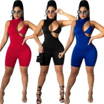 MOEN Hot Selling 2021 Solid Color Sleeveless Sexy Hollow Out Back Invisible Zipper Short Jumpsuits for Women