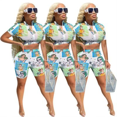 1052169 New Trendy 2021 Two Piece Set Women Clothing Lucky Label Two Piece Set Sexy 2 Piece Sets