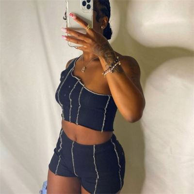 1052819 Hot Selling 2021 Summer Fashion Clothes Two Piece Outfits Women 2 Piece Set