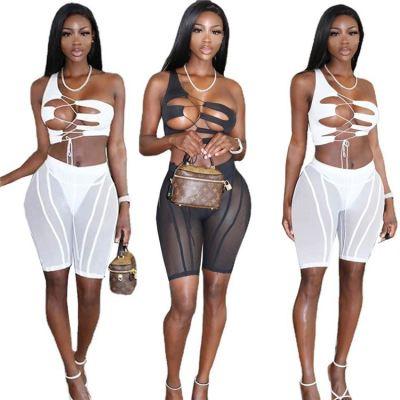1052809 Hot Onsale 2021 Summer Women Fashion Clothes Sexy Mesh Outfits 3 Piece Set Women