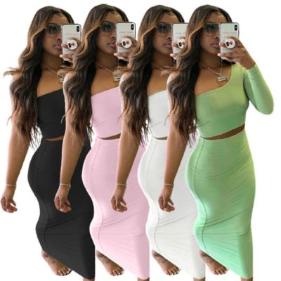 1052807 Best Seller 2021 Women Fashion Clothes One Shoulder Crop Top And Skirt Two Piece Skirt Set