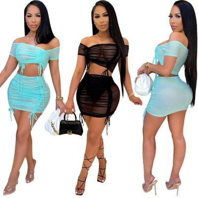 1052654 New Trendy Skirt Two Piece Set Sexy 2 Piece Sets Neon Clothing