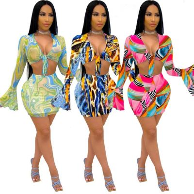 1060232 New Arrival Women Sexy Two Piece Skirt Outfits Short Sets