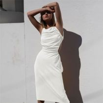 Pearl 2021 New Summer Solid Color Condole Belt Tall Waist Cultivate One'S Morality Casual Dress Women