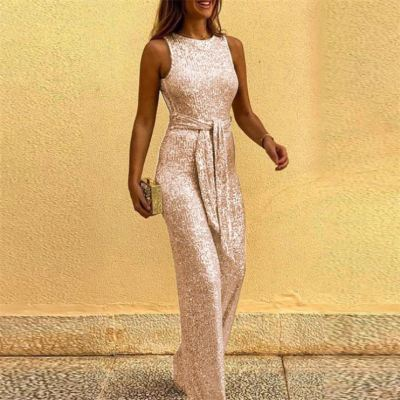 PEARL Sleeveless Women Jumpsuits And Rompers Crew Neck Sequins Hollow Out One Piece Jumpsuits