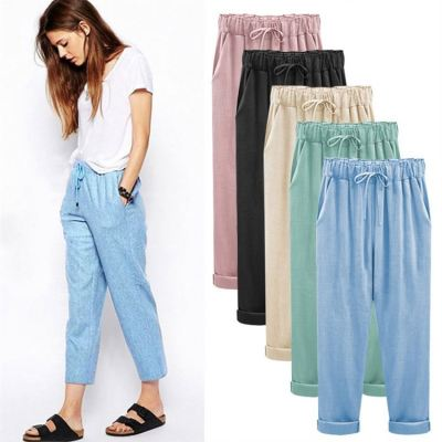PEARL 2021 New Arrival Women Clothing Cotton And Linen Plus Size Pants Solid Color Women's Trousers