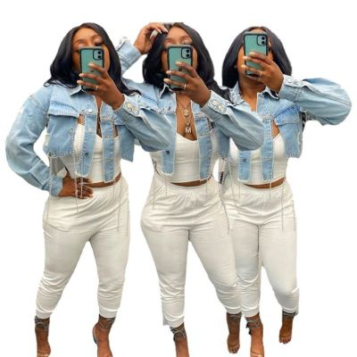 1060704 Good Quality 2021 Women Fashion Clothing Ladies Backless Chain Short Women Jacket Coats Women Denim Jacket