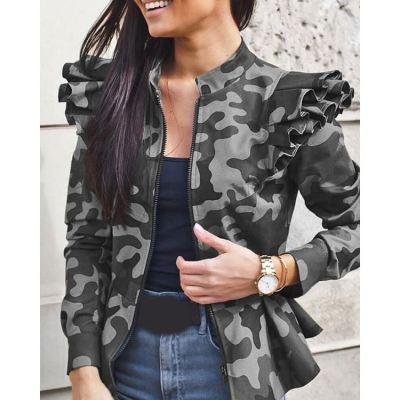 PEARL Jacket Coats Women Autumn Winter Long Sleeve Ruffle Panelled Camouflage Printed Plus Size Coats