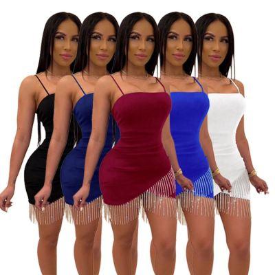 1060715 Latest Design Women Clothes 2021 Tassel Sexy Night Club Dress Women Bodycon Dress