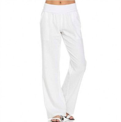 PEARL Woman Pants 2021 Solid Color Cotton And Linen Loose Comfortable Casual Wide Leg Pants Women's Trousers