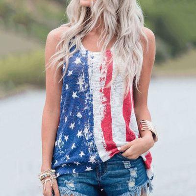 PEARL Woman Tops Fashionable Flag Printed Sleeveless Crew Neck Tshirt Loose Tees Ladies' Blouses