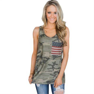 PEARL Woman Tops Fashionable Flag Printed Sleeveless Crew Neck Tshirt Loose Summer Ladies' Blouses & Tops