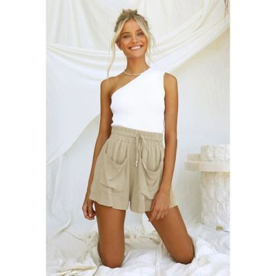 PEARL Summer Cotton And Linen Drawstring High Waist All Match Plus Size Short Pants Women's Trousers