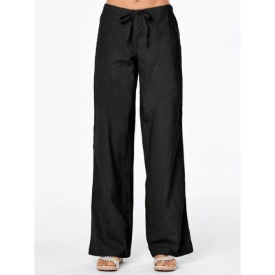 PEARL Loose Casual Wide Leg Woman Pants 2021 Solid Color Strap Pockets For Women's Trousers Plus Size Pants