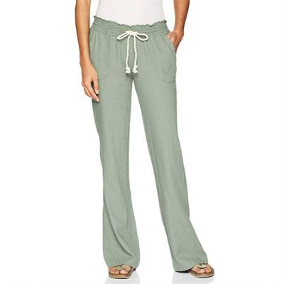 PEARL Summer Ladies High Waisted Wide Leg Pants Breathable Women's Trousers Cotton And Linen Casual Woman Pants 2021