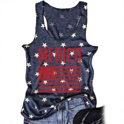 PEARL New Style Women Tank Flag Printed Sleeveless Crew Neck Tshirt Woman Tops Fashionable