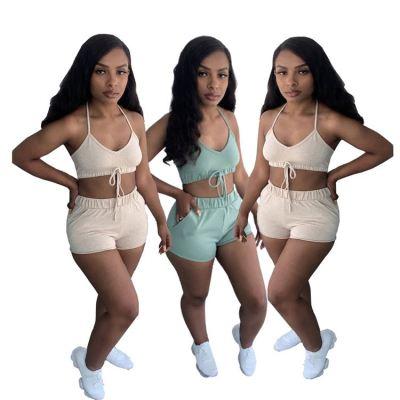 1060533 Latest Design Summer 2021 Women Fashion Clothing Sexy Two Piece Pants Set