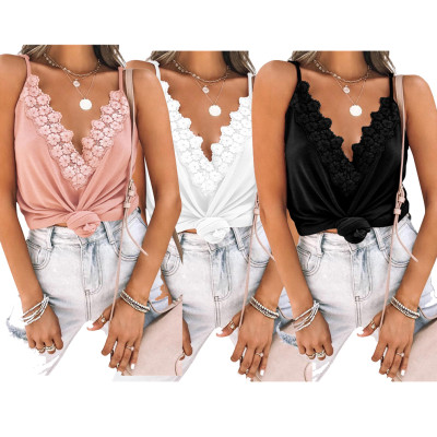 1060535 New Arrival 2021 Summer Women Fashion Clothing Sexy Lace V Neck Ladies Tops
