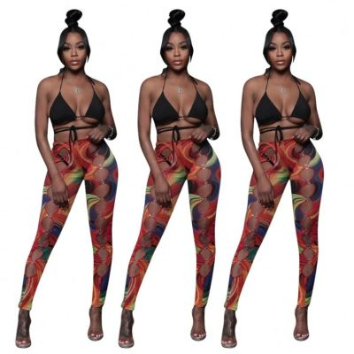 1060531 New Arrival 2021 Summer Women Fashion Sexy Hollow Out Print Women's Trousers & Pants