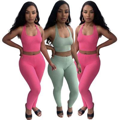 1060534 Latest Design Summer 2021 Women Fashion Clothing Sexy Two Piece Pants Set