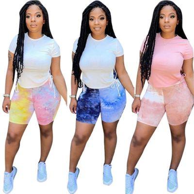 MOEN Best Seller Outfits Fashion Two Piece Set Women Clothing Print Drawstring Casual Sportswear 2 Piece Short Set
