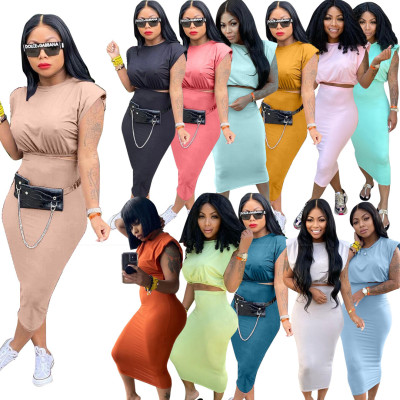 1041503 New Arrival 2021 Women Clothes Summer Outfits Fashion Two Piece Skirt Set