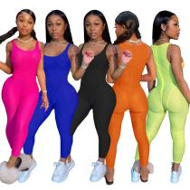 MOEN  New Arrival 2021 Summer Women Clothing Sleeveless Solid Color Ladies Sexy Bodycon Jumpsuit Women One Piece Jumpsuits