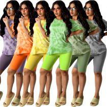 MOEN New Arrival 2021 Summer 2 Piece Short Set Tie Dye Print Casual Sports Suit Tracksuit Homewear Womens Two Piece Set