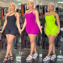 MOEN New Style 2021 Summer Women Clothing Ladies Sexy Backless Bodycon Jumpsuit Women Short Rompers One Piece Jumpsuits