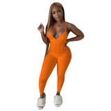 MOEN High Quality Jumpsuit Sexy summer Solid Color Backless Knit Rib Women Trendy Simple One Piece Romper Bodycon Jumpsuits