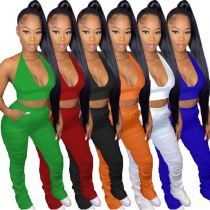 MOEN Best Seller 2021 Summer Fashion Clothing Ladies Stacked Pants Set Sexy Backless Halter Womens Two Piece Set