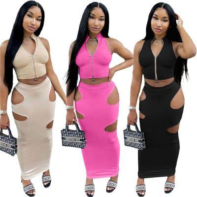 MOEN Latest Design Women Clothing 2021 Solid Color Sexy Holes Sleeveless Zipper Top And Skirt Set Women Two Piece Skirt Set
