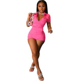 MOEN Fashion Casual Women Clothing Short Sleeve Solid Color Cargo jumpsuit Women One Piece Jumpsuits And Rompers