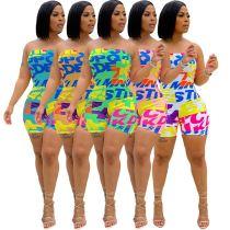 MOEN Best Seller 2021 Summer Sexy Strapless Elastic Ladies Bodycon Jumpsuits Letter Print Short Rompers Women One Piece Jumpsuit