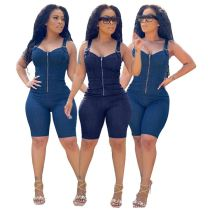MOEN Good Quality Summer High Elastic Sexy Bodycon Jumpsuits Women One Piece Denim Jumpsuit and Rompers