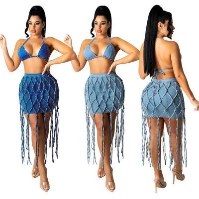 MOEN New Style 2021 Summer Women Clothing Manual weaving rope Denim Skirt Set Tassel Skirt Sets Women 2 Piece Outfits