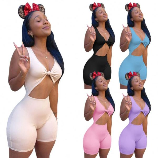 MOEN Best Design Women Clothing 2021 Summer Solid Color Hollow Out Sexy Bodycon Jumpsuit Women Jumpsuits And Rompers