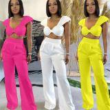 MOEN Trendy 2021 Solid Color 2 Piece Set Women Summer Bow Tops Wide Leg Pants Two Piece Set Women Clothing