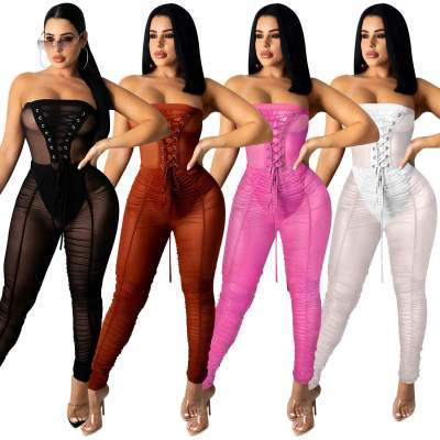 MOEN Fashionable Eyelet Bandage Womens Jumpsuits Summer Strapless Pleated Mesh Transparent Jumpsuit For Women