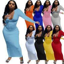 MOEN Fashionable Solid Color V Neck Bodycon Dress Women Long Sleeve Elegant Casual Maxi Dresses
