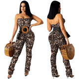 MOEN Best Seller Leopard Print Rompers Womens Jumpsuit Strapless Summer Stacked Pant  Rompers Jumpsuit For Women
